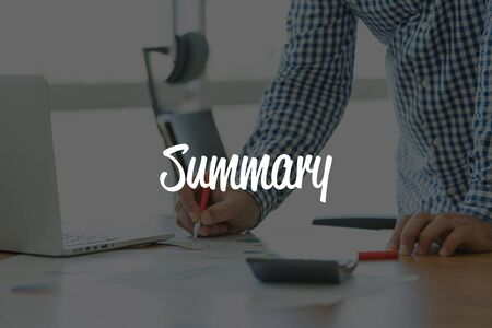 recap: BUSINESS OFFICE WORKING COMMUNICATION SUMMARY BUSINESSMAN CONCEPT