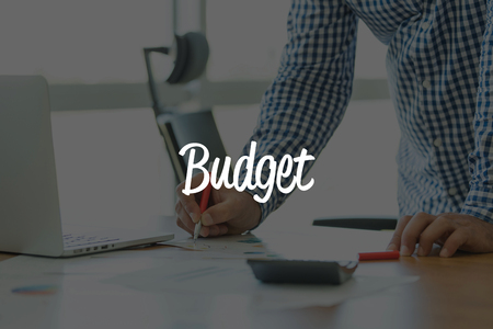 deficit target: BUSINESS OFFICE WORKING COMMUNICATION BUDGET BUSINESSMAN CONCEPT Stock Photo