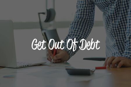 get out: BUSINESS OFFICE WORKING COMMUNICATION GET OUT OF DEBT BUSINESSMAN CONCEPT