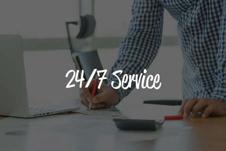 24x7: BUSINESS OFFICE WORKING COMMUNICATION 247 SERVICE BUSINESSMAN CONCEPT