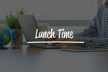 take time out: BUSINESS OFFICE WORKING COMMUNICATION LUNCH TIME BUSINESSMAN CONCEPT Stock Photo
