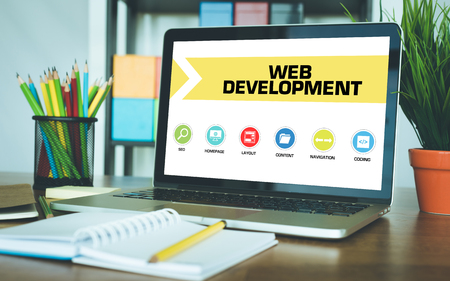 webhosting: Web Development Concept on Laptop Screen