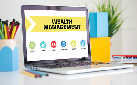 wealth management: Wealth Management Concept on Laptop Screen