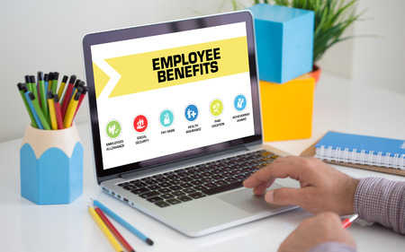 Employee Benefits Concept on Laptop Screen