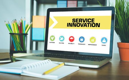 innovation concept: Service Innovation Concept on Laptop Screen