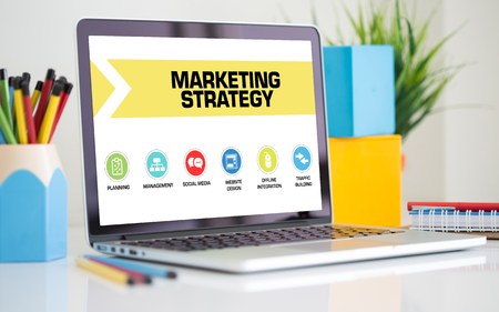 4p: Marketing Strategy Concept on Laptop Screen Stock Photo