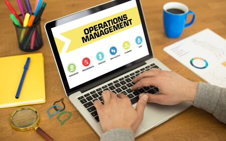 operations: Operations Management Concept on Laptop Screen Stock Photo