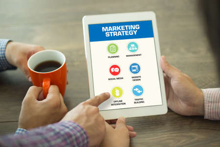4p: Marketing Strategy Concept on Tablet PC Screen