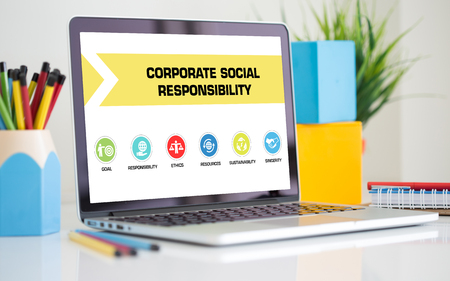 corporate social: Corporate Social Responsibility Concept on Laptop Screen