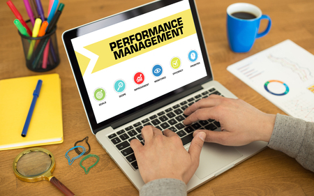 overruns: Performance Management Concept on Laptop Screen
