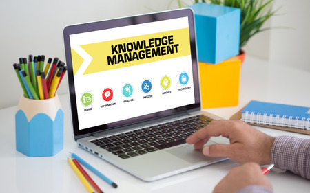 business innovation: Knowledge Management Concept on Laptop Screen Stock Photo