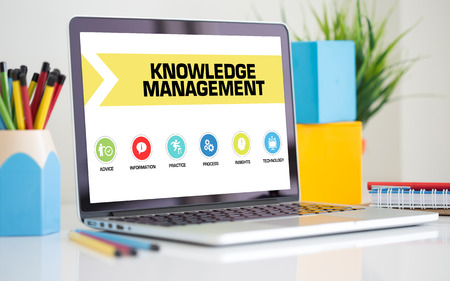 insights: Knowledge Management Concept on Laptop Screen Stock Photo