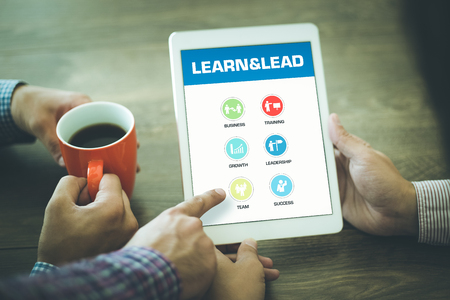 learn and lead: Learn and Lead Concept on Tablet PC Screen