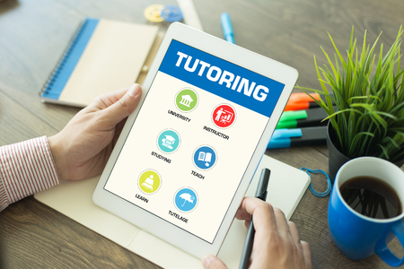 indoctrination: Tutoring Concept on Tablet PC Screen Stock Photo