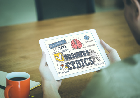ethic: Business Ethics Concept on Tablet PC Screen
