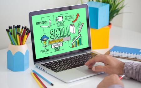 career development: Skills Concept on Laptop Screen Stock Photo