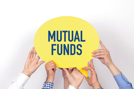 financial diversification: Group of people holding the MUTUAL FUNDS written speech bubble