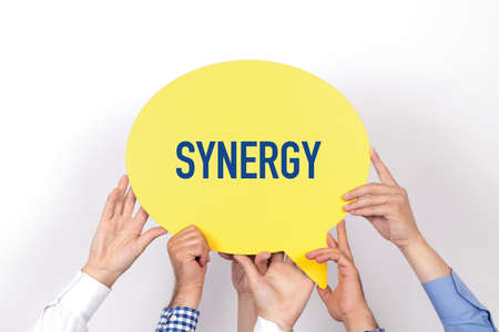 concurrence: Group of people holding the SYNERGY written speech bubble