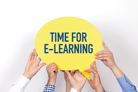 representations: Group of people holding the TIME FOR E-LEARNING written speech bubble