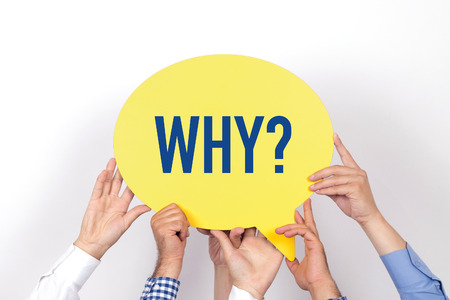 inquiring: Group of people holding the WHY? written speech bubble