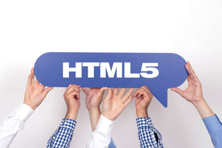 html5: Group of people holding the HTML5 written speech bubble