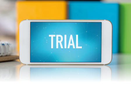 trial: Smart phone which displaying Trial