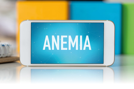 anemia: Smart phone which displaying Anemia Stock Photo