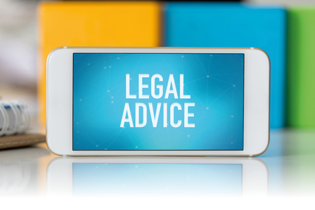 information technology law: Smart phone which displaying Legal Advice Stock Photo