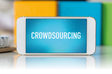 crowd source: Smart phone which displaying Crowdsourcing