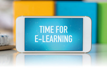 Smart phone which displaying Time For E-Learning