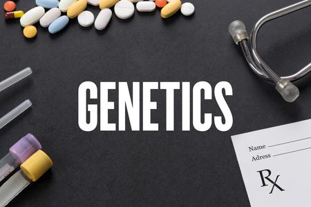 genetica: GENETICS written on black background with medication