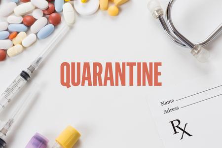 QUARANTINE written on white background with medication