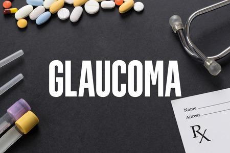 optic nerves: GLAUCOMA written on black background with medication