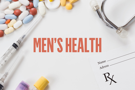 MENS HEALTH written on white background with medication
