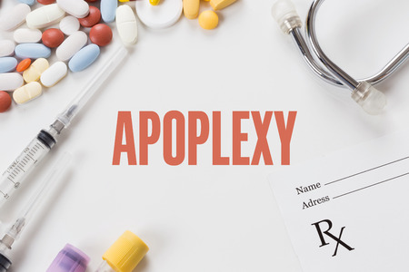 APOPLEXY written on white background with medication