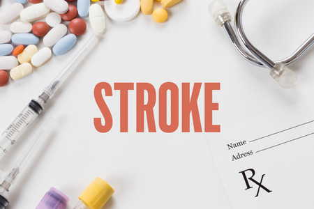 sudden death: STROKE written on white background with medication