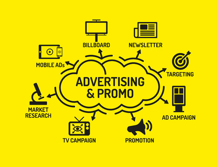 promo: Advertising and Promo Chart with keywords and icons