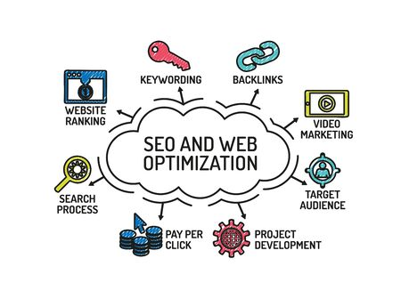 backlink: SEO and Web Optimization chart with keywords and icons. Sketch Illustration