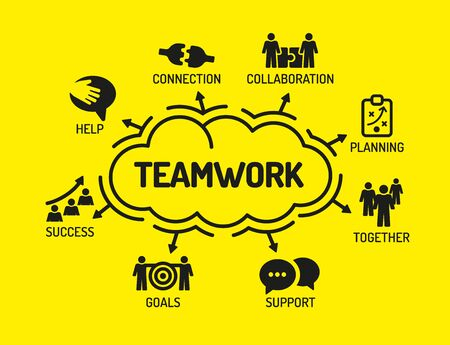 keywords background: Teamwork. Chart with keywords and icons on yellow background
