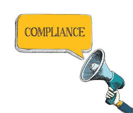 compliant: COMPLIANCE word in speech bubble with sketch drawing style