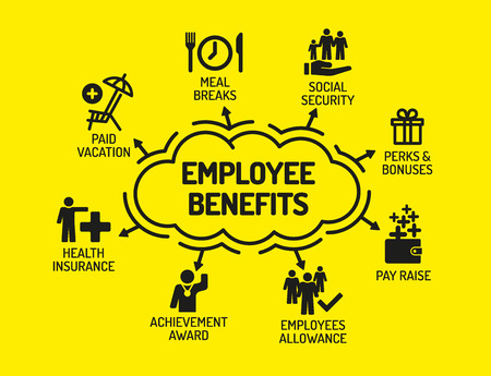 Employee Benefits. Chart with keywords and icons on yellow background Vectores
