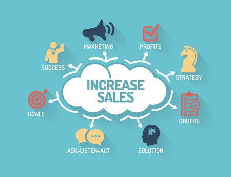 increase sales: Increase Sales - Chart with keywords and icons - Flat Design