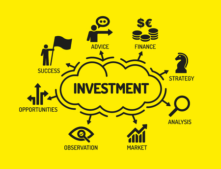 Investment. Chart with keywords and icons on yellow background