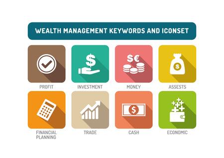 Wealth Management plana Icon Set Ilustración de vector