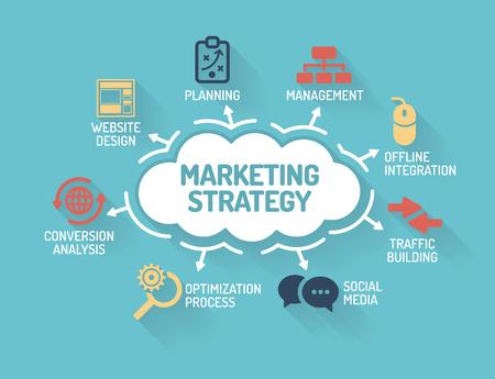 Marketing Strategy - Grafiek met zoekwoorden en iconen - Flat Design