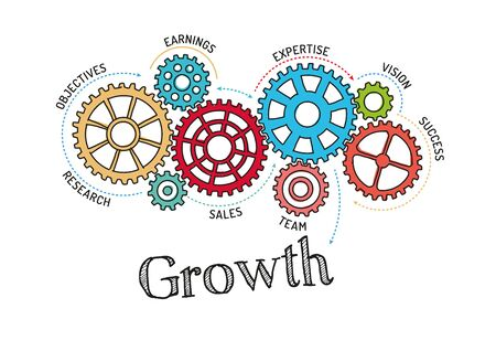 growth: Gears and Growth Mechanism Illustration