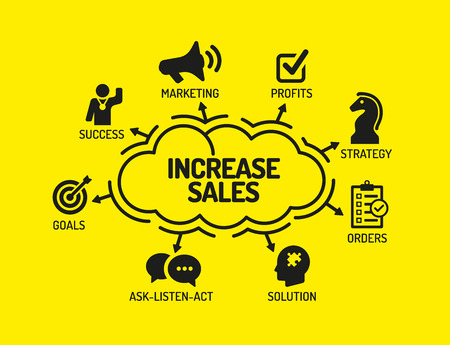 increase sales: Increase Sales. Chart with keywords and icons on yellow background Illustration