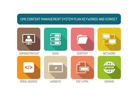 backlink: CMS Content Management System Flat Icon Set Illustration