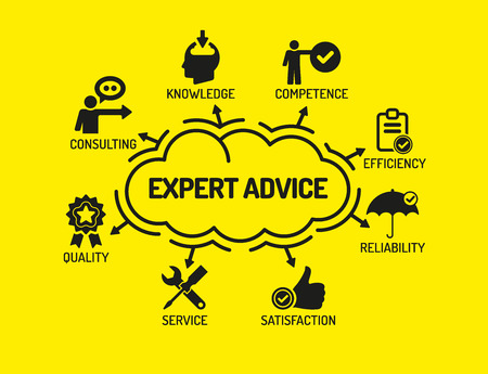 keywords background: Expert Advice. Chart with keywords and icons on yellow background