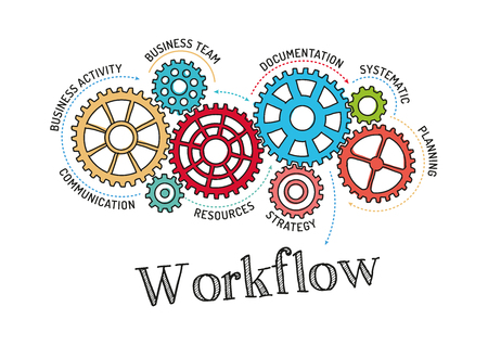 Gears and Workflow Mechanism Illustration